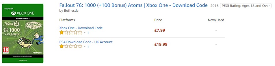 Amazon UK Fallout 76 Atoms Pricing