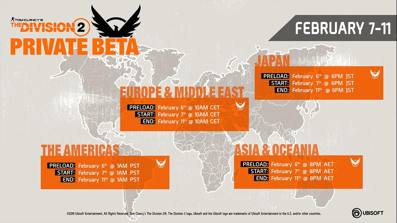 The Division 2 beta timings