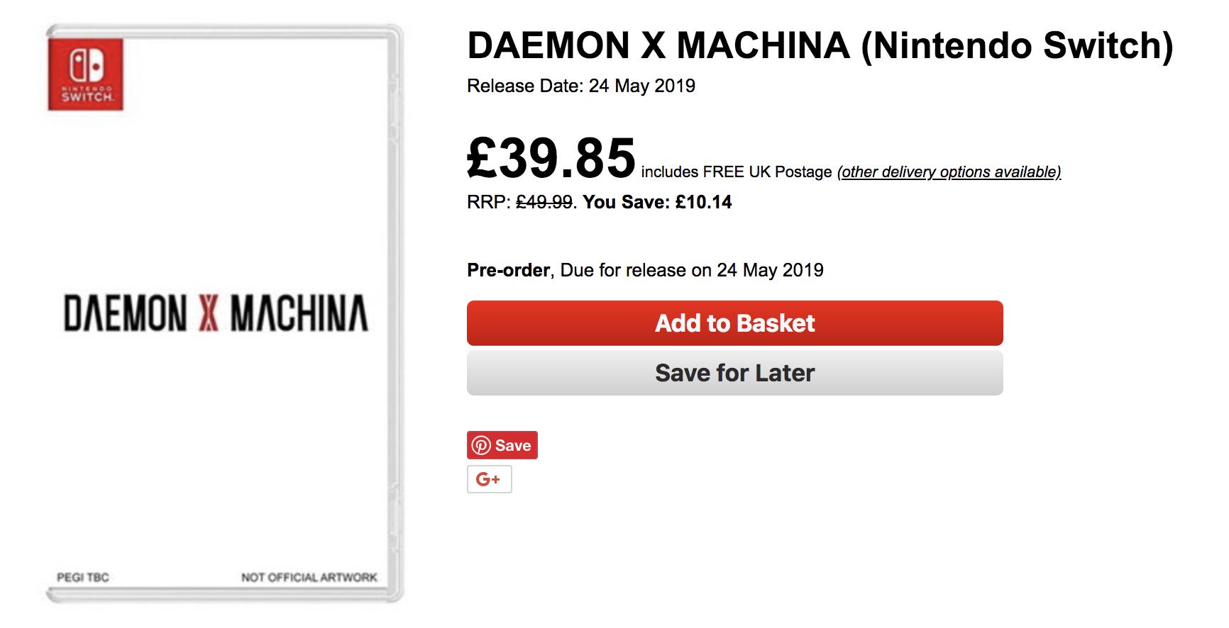 daemon x machina retailer listing
