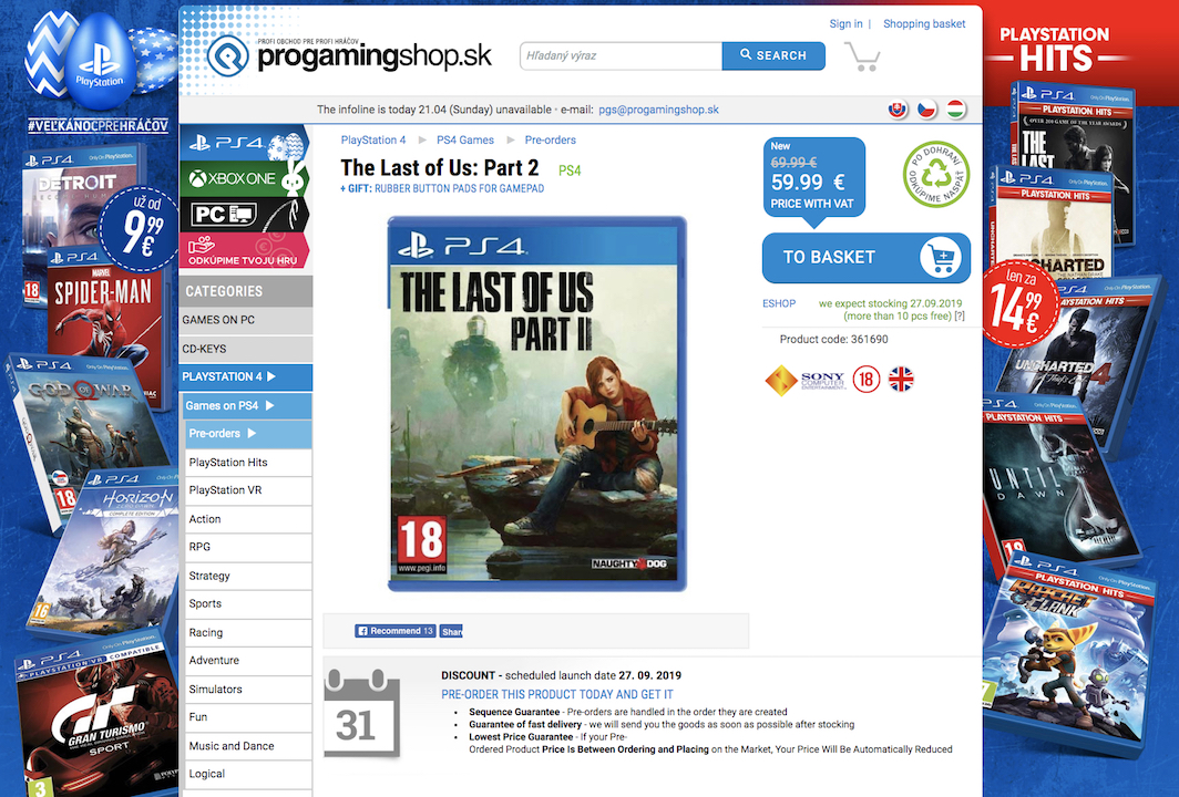 last of us part 2 retailer release date