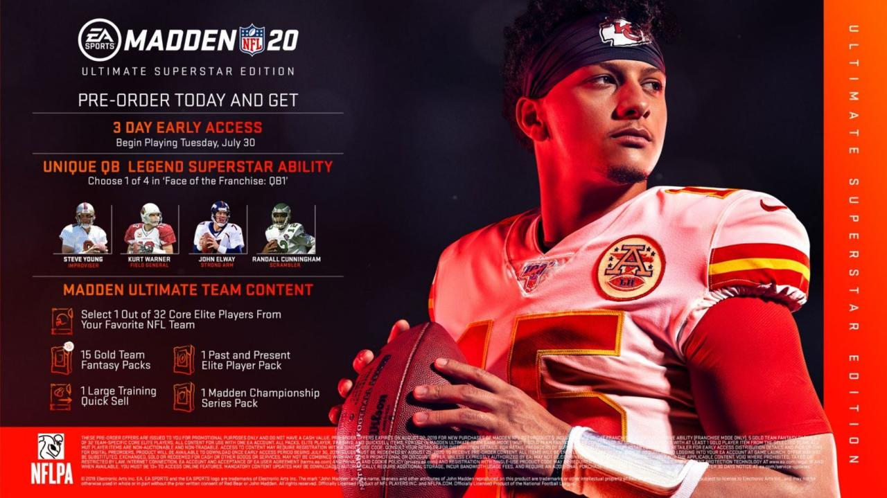 Madden NFL 20 Pre-Order and Special Edition Bonuses Include Early