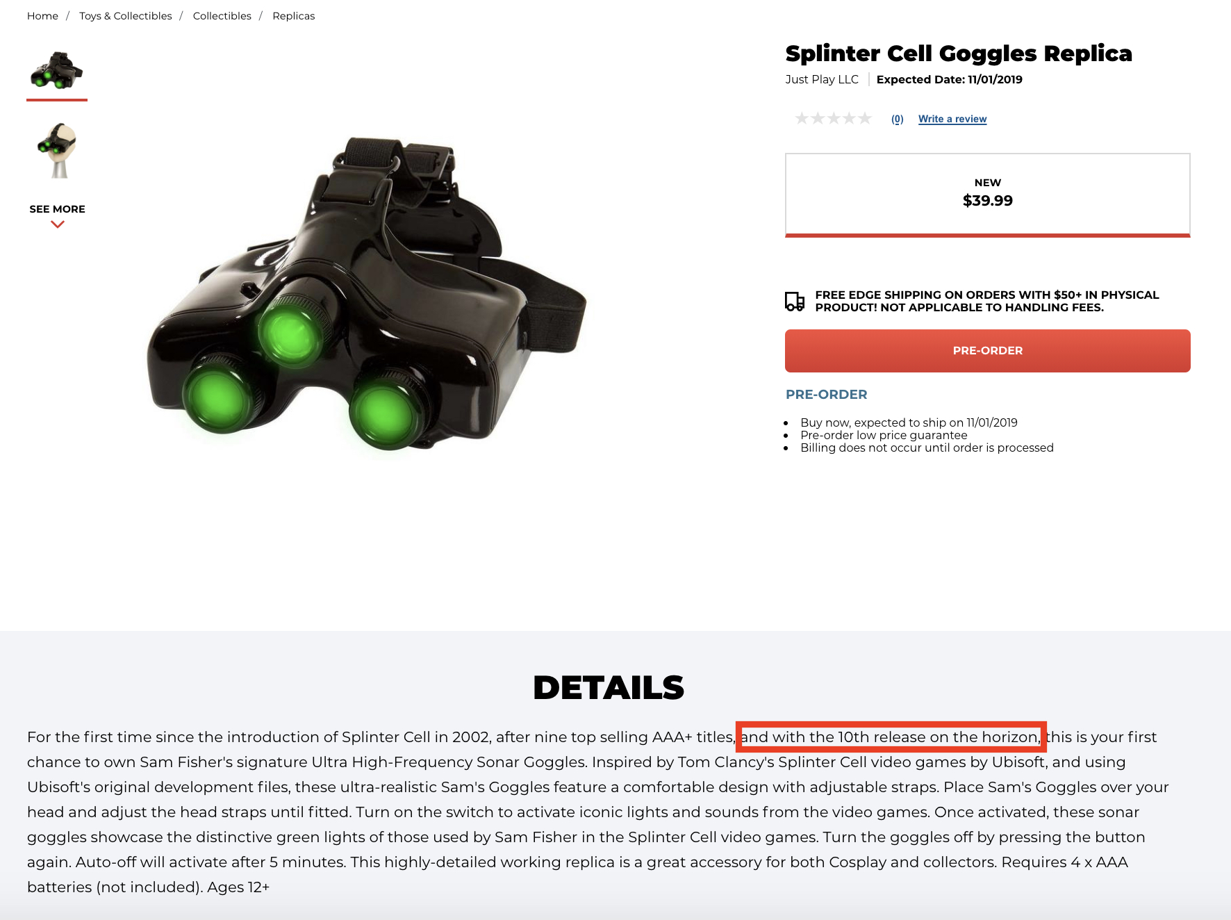 splinter cell gamestop