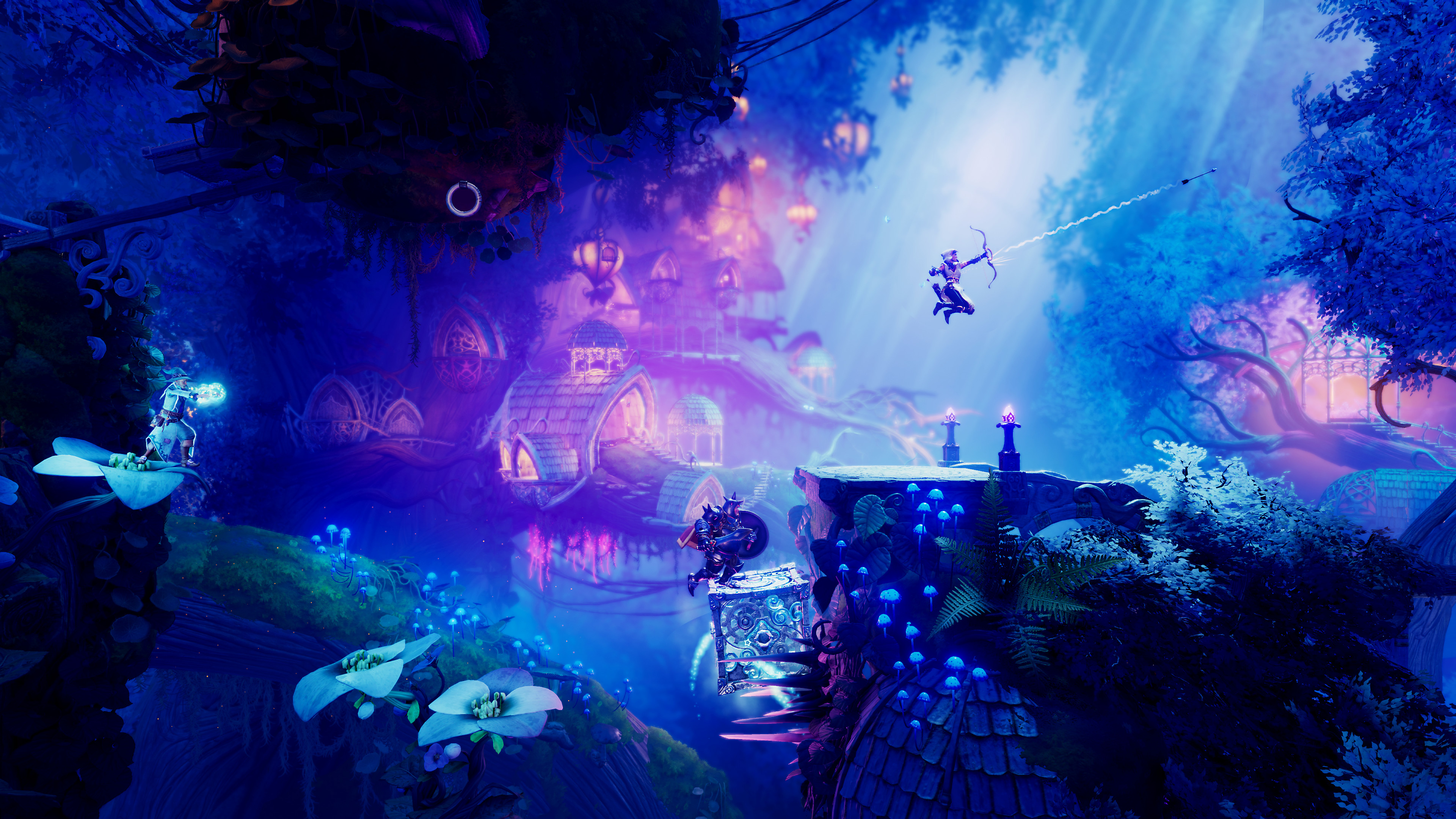 Trine 4 The Nightmare Prince Launch Trailer Shows Beautiful Visuals Co Op Gameplay Puzzles And More