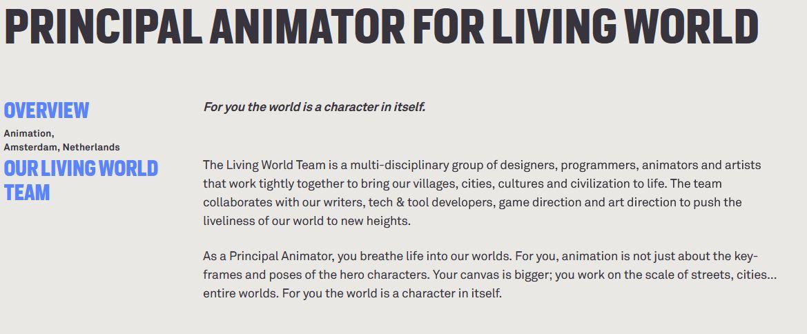 Guerrilla Games_Principal Animator for Living World
