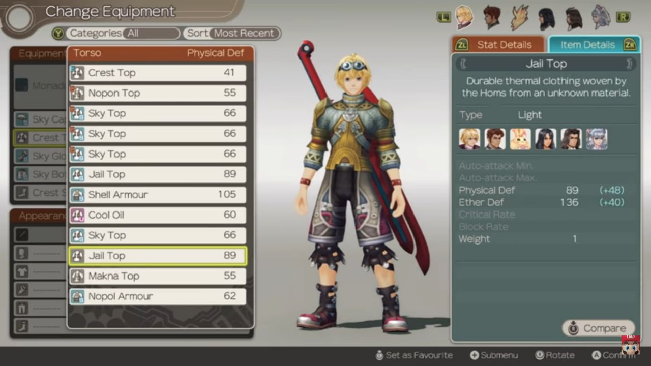 Xenoblade Chronicles Definitive Edition inventory