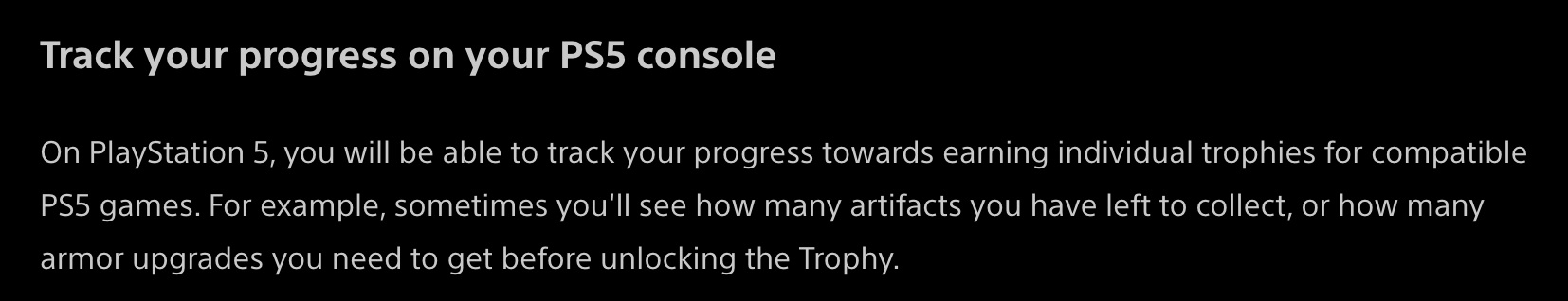 ps5 trophies progress tracking