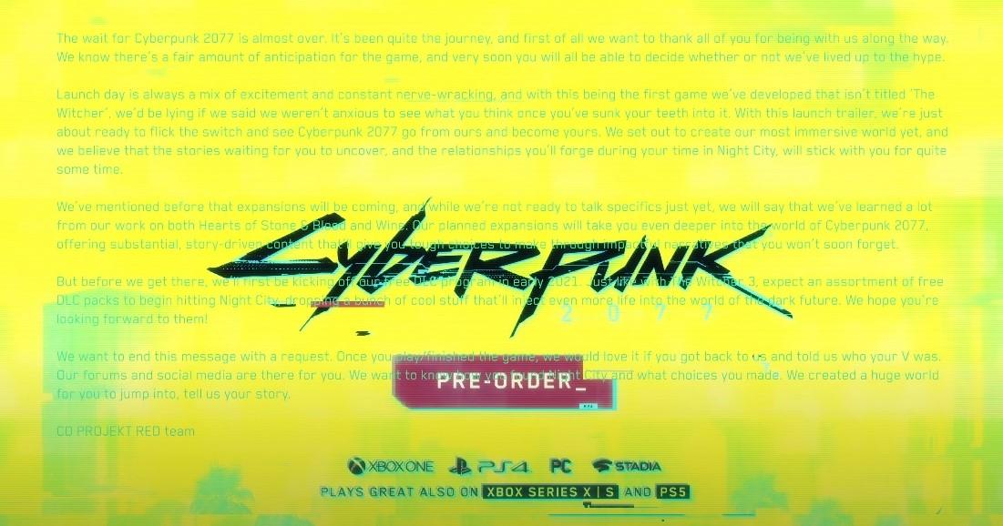 cyberpunk 2077 launch trailer message