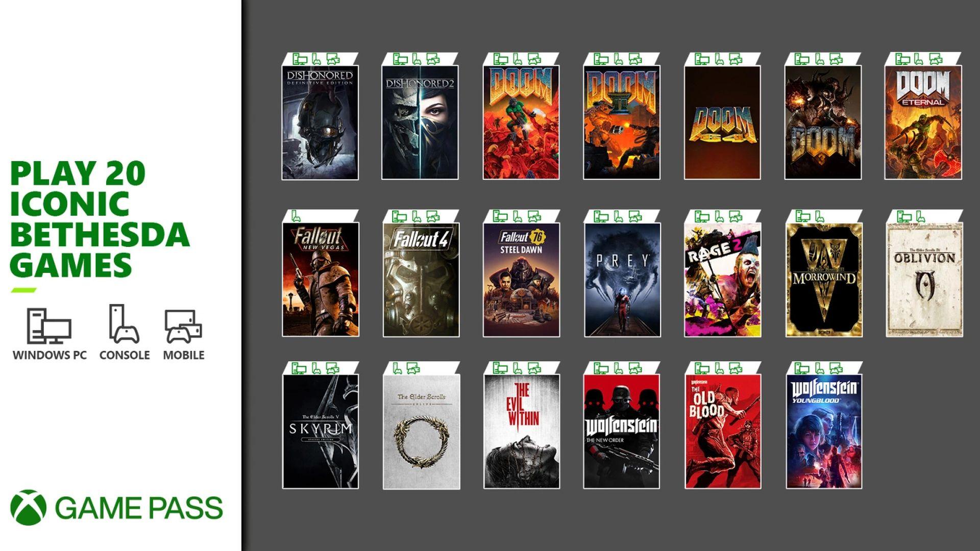 Xbox Game Pass - Bethesda titles