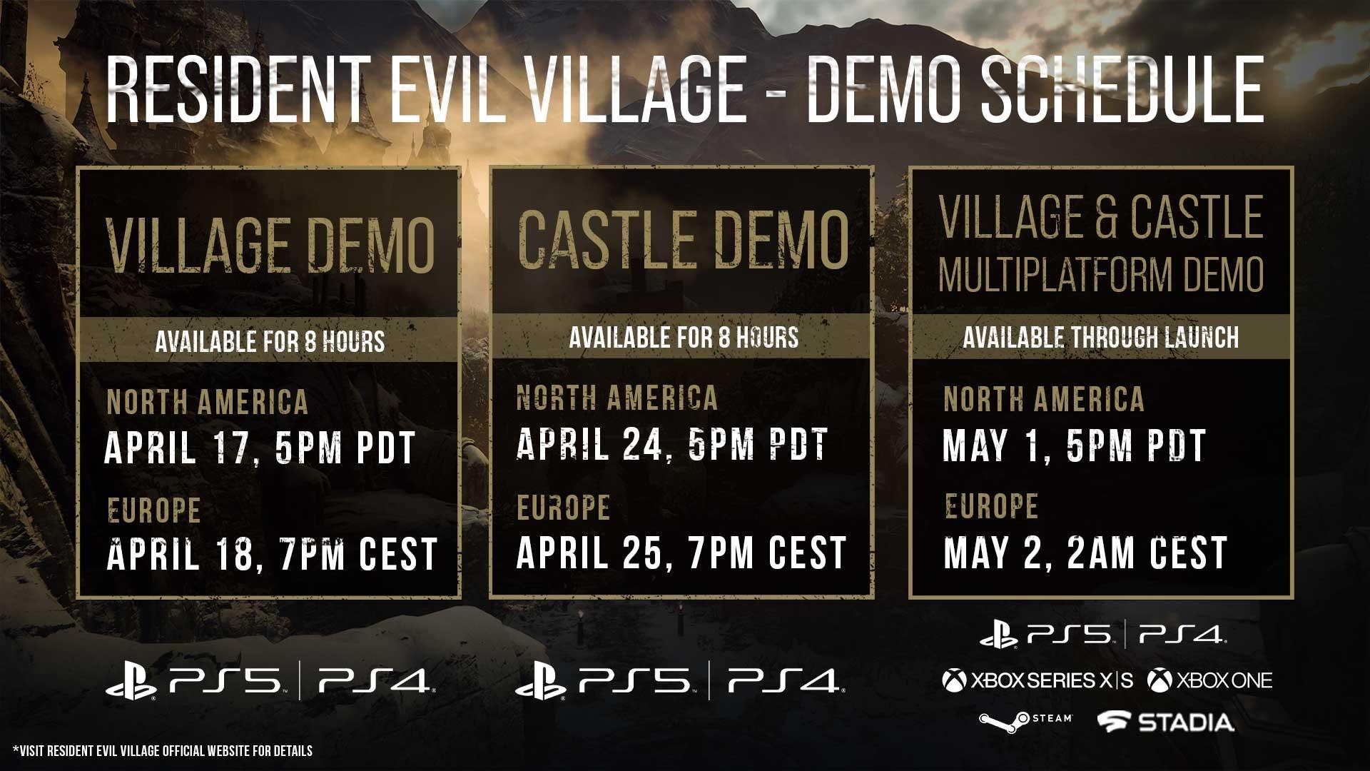 resident evil village demo schedule