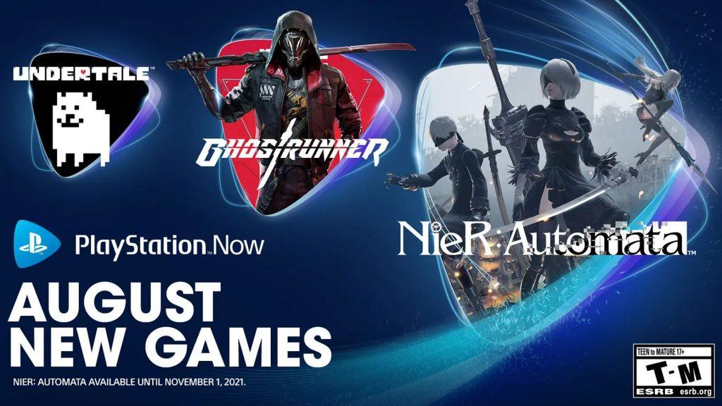 PlayStation Now_NieR Automata_Undertale_Ghostrunner