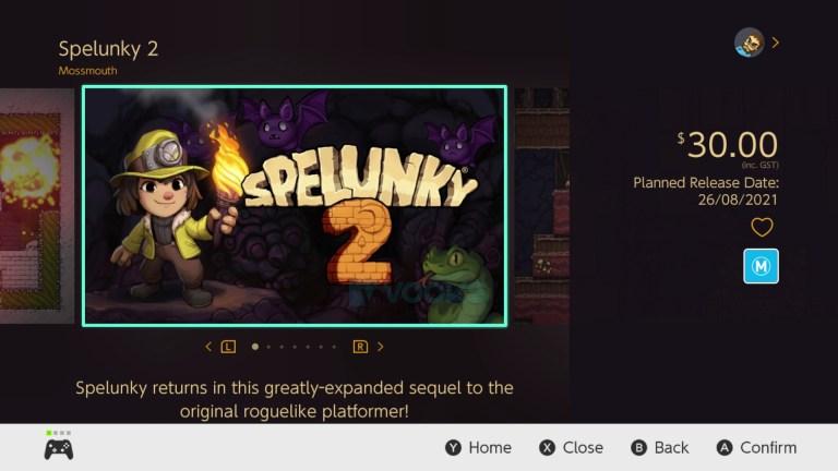 spelunky 2 switch release