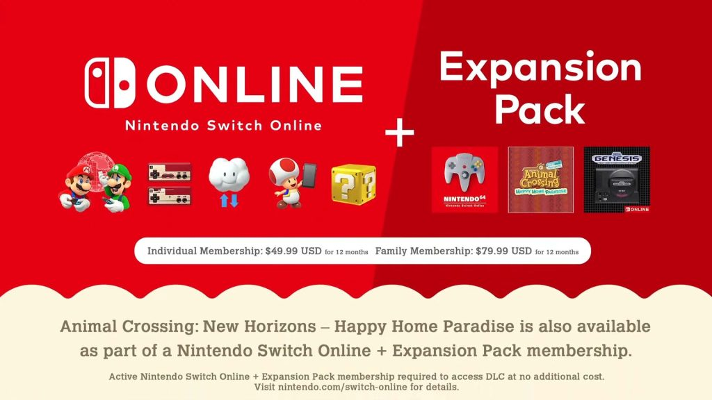 Nintendo Switch Online + Expansion Pack Costs $49.99 for 12 Months